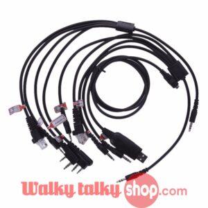 8 in 1 USB Programming Cable with CD for Motorola Kenwood Yaesu Icom BaoFeng UV-5R HYT TYT Handheld Two Way Radio Mobile Radio