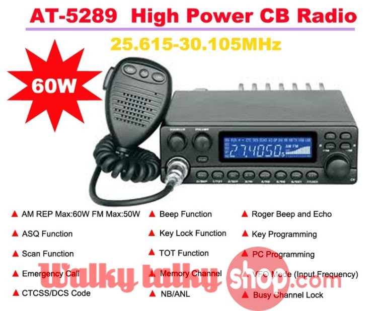 AnyTone AT-5289 High Power CB(Citizens Band) Radio 60W 25 615MHz-30 105MHz