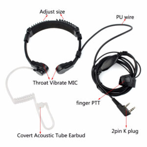 Two Way Radio K-Plug Flexible Throat Vibrate Acoustic Tube Headset