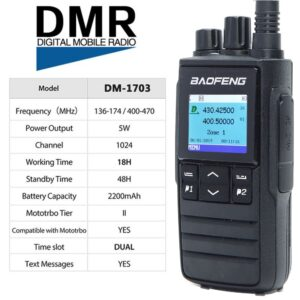 Baofeng DM-1703 VHF UHF Dual Band DMR Transceiver