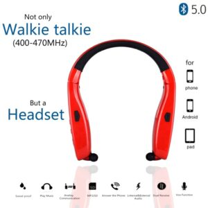 Alafone AF4 Neckband Mini Walkie Talkie UHF 400-470MHz Bluetooth Earpiece for Two Way Radio For Phone